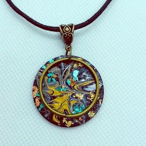 Jewelry - Hand painted wooden pendant necklace.